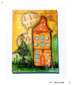 MY House Mixed Media Canvas, Polkadoodles, Little Kingdom, Mixed Media, Stamping, Stencilling, FC Gelatos, FC PItt Pens, Copic markers