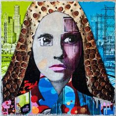 Downtown Girl by Anyes Galleani - Mixed media on wood, ready to hang. This is a #collage based on #Los_Angeles downtown elements. Specifically #street_art photographed in the #arts_district with the Los Angeles cityscape in the background