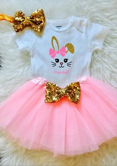 f8ab2094e Toddler Girl Easter Outfit, Easter Outfit Baby Girl, My First Easter Outfit,  Bunny Shirt