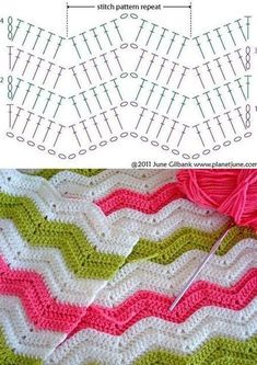 Best 8 Herringbone, Zig Zag Crochet Stitches for Free. Zig Zag Crochet Pattern, Chevrons Au Crochet, Crochet Bedspread Pattern, Crochet Ripple Blanket, Crochet Motifs, Crochet Diagram, Crochet Chart, Crochet Stitches, Tutorial Crochet