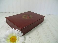 Vintage Burgundy Leatherette Stationery Jewelry by DivineOrders, $17.00