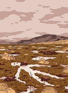 "luke-pearson: "" Illustration accompanying the short story The Bog Girl by Karen Russell, in the New Yorker fiction section. Environment Concept, Environment Design, Pretty Art, Cute Art, Ligne Claire, Aesthetic Art, Oeuvre D'art, Landscape Art, Art Inspo"