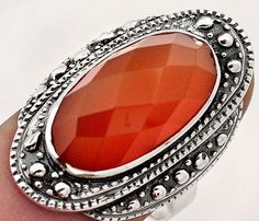 SIZE 9 9.33cts NATURAL RED CARNELIAN OVAL 925 STERLING SILVER RING JEWELRY 6.2g  #Solitaire
