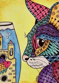 ACEO Le Print Cat Kitten Doodle Pet Portrait Fish Animal Zentangle Larusc | eBay