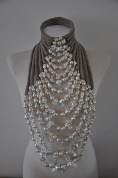 White Baroque Pearl Necklace   Dolores de Jong Jewelry for March 2012 Mart Visser Haute Couture show. Designer website: http://www.doloresdejong.nl/nieuws-2012.html. Love this statement necklace! So bold and creative. Looks like something I might design. :)
