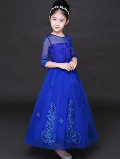 Sequined Contrast Mesh Applique Solid Color Half Sleeves Long Dress Gowns For Girls, Girls Dresses, Flower Girl Dresses, Indian Men Fashion, African Fashion, Lovely Dresses, Blue Dresses, Tween Fashion, Fashion Outfits