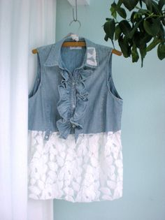 SALE Large Lace and Denim Upcycled Altered Shirt Top Tunic  on Sale