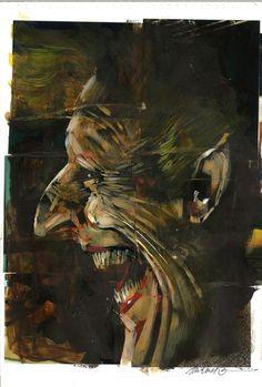 The Joker by Dave Mckean realismo, expresión, tenebrismo, predomina color sobre linea, dirección