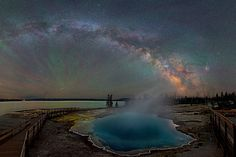 The Milky Way Over Yellowstone. #MilkyWay #space #universe