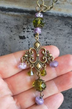 My new necklace. Olive Purple Chandelier Necklace Long Bohemian by TeslaDesigns