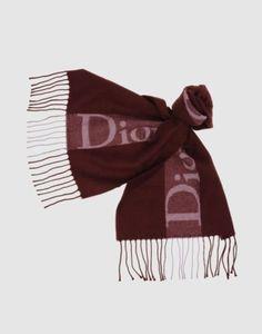 #ChristianDior Oblong Burgundy Logo Designer Fringe Scarf Flannel Made in Italy