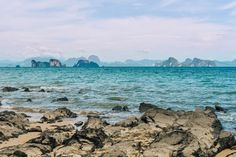 ocean, sea, rocks, waves, water, nature, landscape, outdoors, mountains, sky, clouds, blue