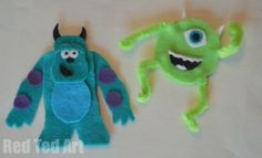 Monsters Inc Puppets - Red Ted Art - Make crafting with kids easy & fun Monsters Inc Crafts, Monster Crafts, Felt Crafts, Diy And Crafts, Easy Crafts, Mike And Sulley, Felt Finger Puppets, Felt Puppets, Monster Inc Party