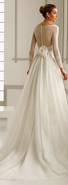 Rosa Clara 2016 bridal collection bateau neckline illusion long sleeves A-line wedding dress deba back