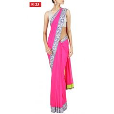 Designer Bollywood Style Pink Georgette Stylish Sari Saree Lehenga T23