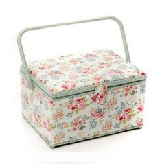 Large Sewing Baskets with Accessories | Classic Large Sewing Basket Box - Rose on Blue: Amazon.co.uk: Kitchen ...