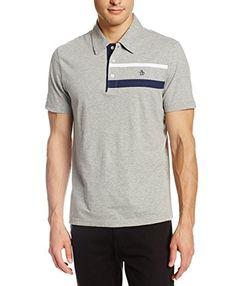Original Penguin Men's Chest Stripe Polo Shirt, Rain Heather, Large