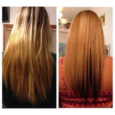 Before and after! In love with my new hair. Cool blonde on top & dark chocolate brown underneath