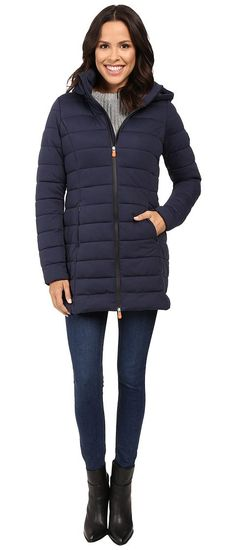 Save the Duck Hooded Stretch Puffer Long Coat (Navy Blue Melange) Women's Coat - Save the Duck, Hooded Stretch Puffer Long Coat, D4206W-ANGY3-411, Apparel Top Coat, Coat, Top, Apparel, Clothes Clothing, Gift, - Street Fashion And Style Ideas