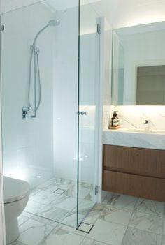 Small glass shower, Apartment Interior Fitout modern bathroom
