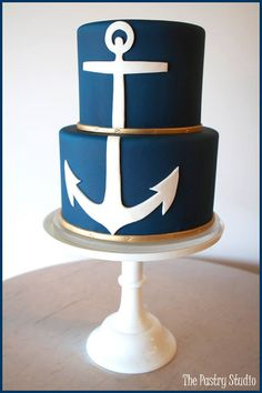 Ahoy! A fabulous, navy blue, mariner-inspired wedding cake! {by The Pastry Studio}