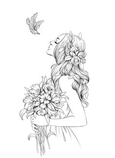 People Coloring Pages, Fairy Coloring Pages, Animal Coloring Pages, Adult Coloring Pages, Coloring Books, Art Drawings Sketches, Cute Drawings, Black And White Art Drawing, Copics