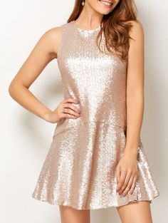 SHARE & Get it FREE | Sequined Cut Out Jewel Neck Dress - BeigeFor Fashion Lovers only:80,000+ Items • New Arrivals Daily Join Zaful: Get YOUR $50 NOW!
