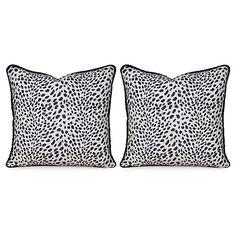 S/2 Leopard Path 20x20 Pillows, Navy