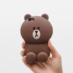 iPhone SE Case iPhone 5/5s Silicone Back Covers Ultra Thick Drop Resistant Cute Lovely Chic for Teen Girls Kids Women (Brown Bear)