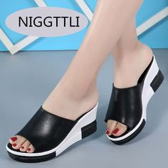Online Shop New High Quality Summer Square Heels Women Shoes Flat Sandals Ladies PU Leather White Black Open Toe Slippers Ladies 807 Leather High Heels, Leather Wedges, Leather Shoes, Pu Leather, Black And White Wedges, Black White, Wedge Flip Flops, Leather Flip Flops, Sandals For Sale