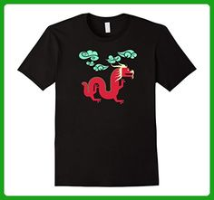 Mens Chinese Red Dragon T-Shirt Tee Shirt China Art Gold New Year XL Black - Animal shirts (*Amazon Partner-Link)