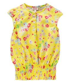 Look what I found on #zulily! Yellow Blossom Cap-Sleeve Top - Toddler & Girls #zulilyfinds