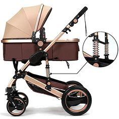 Belecoo™ Luxury Newborn Baby Foldable Anti-shock High View Carriage Infant Stroller Pushchair Pram(Golden) - $316.98