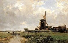 Carlos de Haes (Spanish, 1829-1898) - Dutch Mill, 1884