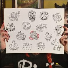 Megan Massacre - Halloween Bangers Halloween costumes Halloween decorations Halloween food Halloween ideas Halloween costumes couples Halloween from brit + co Halloween Spooky Tattoos, 13 Tattoos, Love Tattoos, Body Art Tattoos, Small Tattoos, Tattoo Flash Sheet, Tattoo Flash Art, Flash Tattoos, Tattoo Sketches