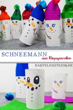 Schneemann basteln mit Kindern Snowman tinker with kids. For a nice Christmas and winter time. Great craft ideas for children and toddlers. Winter Crafts For Kids, Winter Kids, Diy Crafts To Do, Paper Crafts, Simple Crafts, Canvas Crafts, Clay Crafts, Felt Crafts, Snowman Crafts
