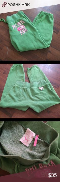 XS , VS PiNK green joggers Condition is great- size XS but will fit small PINK Victoria's Secret Pants Track Pants & Joggers