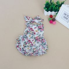 ruffle floral baby girl romper  summer sleeveless baby girl jumpsuit  cotton belt romper baby girl 0-4years