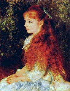 "Mlle. Irene Cahen d'Anvers (""Little Irene"") by Pierre-Auguste Renoir.  Oil on canvas, 1880 - E.G. Bührle Collection in Zürich, Switzerland."