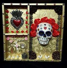Day of the Dead Shrine Altar Sugar Skull Mexican Folk Art Dia De los Muertos