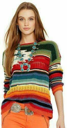 """wantering-sweater-weather: """"Hand-Knit Serape Pullover Search for more Sweaters by Polo Ralph Lauren on Wantering. Moda Crochet, Knit Crochet, Ralph Lauren Style, Polo Ralph Lauren, Mode Country, Poncho Pullover, Cashmere Yarn, Knit Fashion, Sweater Weather"""