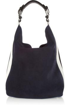 Marniside-striped suede hobo bag