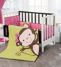 New Baby Girls Polka Dot Pink Green Light Monkey Crib Bedding Set 6 pc