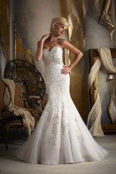 Mori Lee  TAGS:Embroidered, Fishtail, Floor-length, Strapless, White, Ivory, Mori Lee, Lace, Glamour,