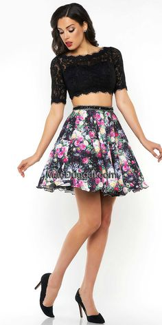 Lace and Floral Two Piece Dress by Mac Duggal  #edressme