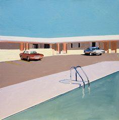 Painting is Poetry — adreciclarte: Motel Pool by Jessica Brilli David Hockney, Surf Vintage, Vintage Art, Vintage Paintings, Retro Art, Art Plastique, Motel, American Artists, Fine Art Paper