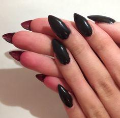 Black stiletto gel nails