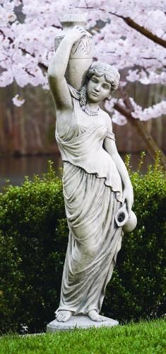 Grecian Woman Plumbed Rebecca Garden Statue Piped