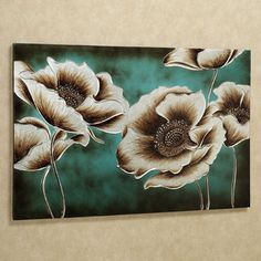 Large silver and bronze poppies seem to glow against the background on the Jardin de Pavot Floral Canvas Wall Art. Set on teal with a brown wash, the poppy flowers are magnificent in their elegance. Flower Canvas, Flower Art, Metal Tree Wall Art, Metal Art, Inspirational Wall Art, Painting Techniques, Painting Tips, Painting Inspiration, Inspiration Wall