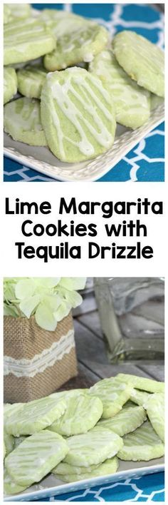 How to make lime margarita cookies with a tequila drizzle. These boozy cookies are sooo good!